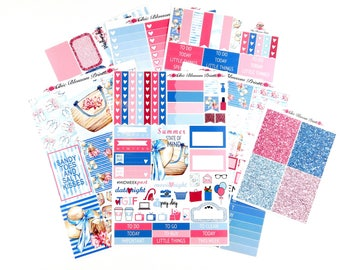Summertime Collection, Weekly Kit, Happy Planner, Plum Planner, Planner Stickers, Plan with Me, ChicBlossomPrints