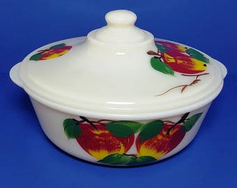Vintage Fire King Covered Casserole Dish- 1.5 qt. with Apple Design - Hard To Find