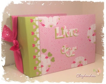 """Guest book or album born pink and lime green """"Flamingo"""" to 60 photos or small"""