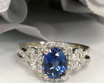 Oval Ceylon Blue Sapphire and Genuine  Diamond Halo Style  Ring  Set In 14k White Gold #5375