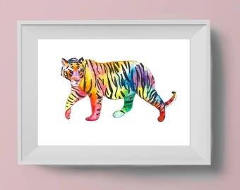 Watercolour Tiger Art Print