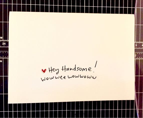 Hey Handsome Card, Card for him, anniversary card for husband, husband anniversary card, love card for him, sidesadwich