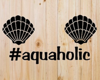 Aquaholic Clam Shell Mermaid Decal #aquaholic
