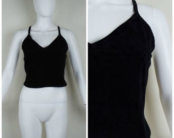 Vintage Womens 1990s Black V Neck Microsuede Crop Tank Top | Size S/M