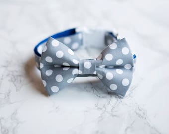 Bow Tie Collar | Large Grey and White Dot Bow Tie Collar | Dog & Cat