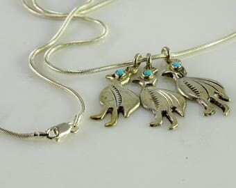 """Three Bird Pendants/ Turquoise Eye on a 23"""" Snake Chain All Sterling"""