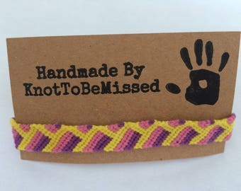 Handmade Woven Macrame Friendship Bracelet Yellow Pink Purple