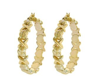 14K Yellow Gold Hugs And Kisses Design Hoop Earrings