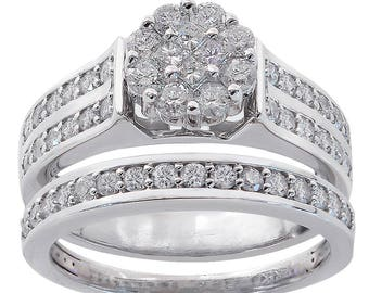 1.00 Carat Diamond Cluster Engagement Ring And Wedding Band Bridal Set 14K White Gold