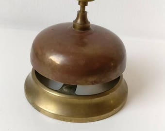 Counter Top Shop Bell, Service Reception Desk Bell, Copper and Brass Antique