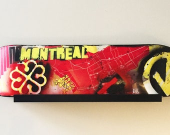 Recycled skateboard, Montreal wall decor, artwork, spray, collage, city of montreal, red, yellow