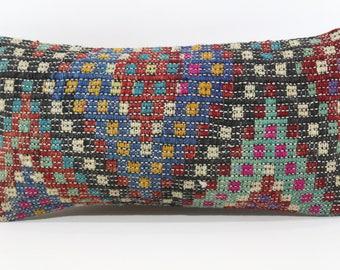 10x20 Naturel Embroidered Kilim Pillow Home Decor 10x20 Turkish Kilim Pillow Decorative Kilim Pillow Cushion Cover SP2550-1083