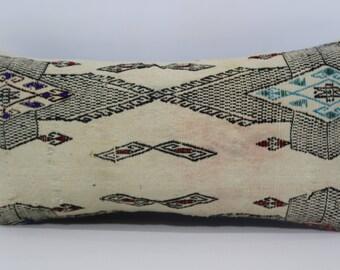Turkish Kilim Pillow Boho Pillow Ethnic Pillow 12x24 Handwoven Patterned Kilim Pillow Decorative Kilim Pillow Cushion Cover  SP3060-987