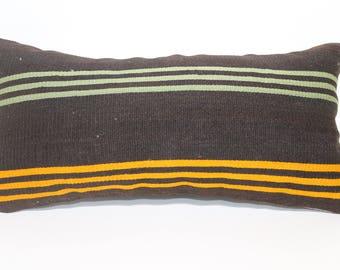 Anatolian Kilim Pillow Sofa Pillow Black Striped Kilim Pillow 12x24 Lumbar Kilim Pillow Sofa Pillow Throw Pillow Cushion Cover  SP3060-1242