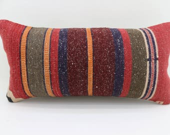 kilim pillows colorful pillow body pillow bed sham 10x20 turkish pillow lumbar cushion cover vintage kilim pillows throw pillow  SP2550-1653