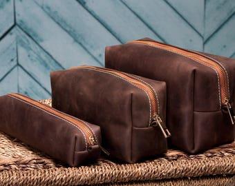 Leather Dopp Kit, Custom Groomsmen Gift, Leather Shaving Kit, Leather Toiletry Bag, Mens Toiletry Bag, Wedding Gifts, Birthday Gift