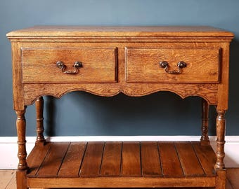 Solid OAK Farmhouse HALL Side Table & DRAWERS