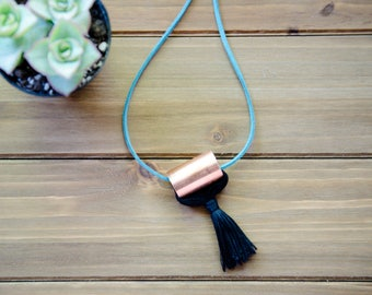 Minimalist Copper Tassel Necklace, Diffuser Necklace, Black Tassel, Statement Necklace, Fashion Jewelry, Jewelry under 30,Tassel Jewelry