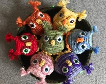 Rainbow Owls Crochet Amigurumi