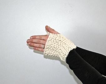 50% OFF SALE Knit Hand Warmers, Knit Fingerless Hand Warmers, Knit Fingerless Gloves, Chunky Knit Fingerless Gloves Fisherman Decorah Gloves