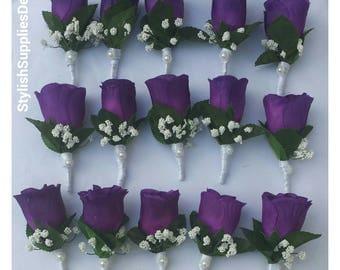 Purple wedding etsy purple wedding boutonnieres purple men boutonnieres purple wedding accessories purple rose boutonniere purple wedding decoration groom junglespirit Gallery