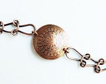 Acid Etched Copper Mandala Bracelet Handmade