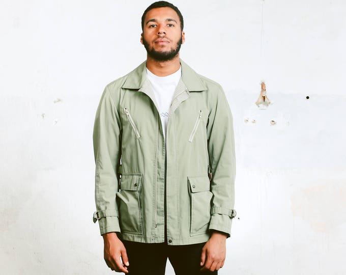 Men's Utility Style Jacket . Vintage Khaki Green 70s Jacket Retro Parka Jacket Short Coat Outerwear Unisex Autumn Jacket . size Medium