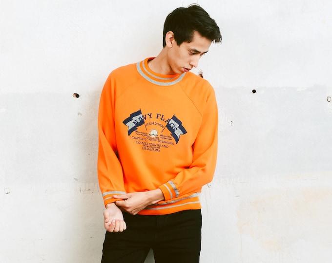 80s Orange Unisex Jumper . Men's Vintage Sweater Graphic Print Top Men Retro Sweatshirt Adventurer Sweater Boyfriend Gift . size Medium