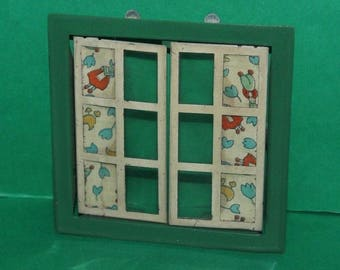 Vintage Dolls House Triang Opening Window Green Frame 10cm x 10cm #8