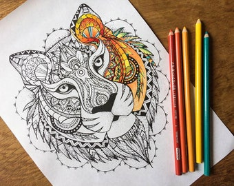adult colouring pages, boho animal kingdom artists colouring pages, lion, tiger, peacock, elephant, wolf, colouring pages, drawing prints