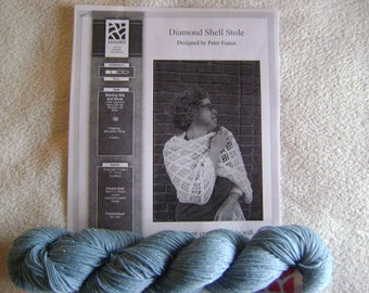 Sterling Silk and Silver Crocheted Diamond Shell Stole Kit