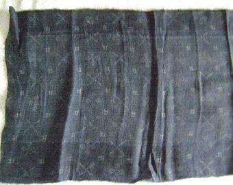 Vintage Japanese Black/Blue Cotton Kimono Fabric with Small Print for Crafting or Sewing or Sashiko Embroidery