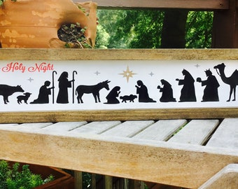 Nativity Wood Sign,Oh Holy Night Sign,Nativity Scene,Christmas Decor,Nativity sign,Christmas Sign,Manger Sign,Baby Jesus,Christmas wood art