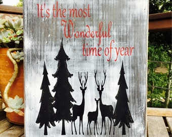 It's the most Wonderful time of Year,Christmas wood Sign,Holiday wood art,Rustic Christmas wood Decor,Gallery wall art,Christmas decor