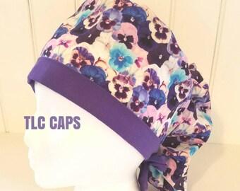 Purple fields Pony tail scrub hat