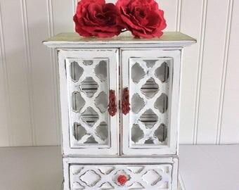 Hand Painted Jewelry Box, Armoire, Music Box, Jewelry Storage, Wooden Box, Trinket Box, Garden Box, Lattice Box, Whote Box