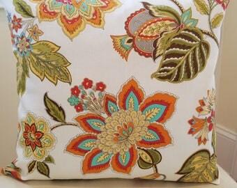 Yellow pillow, Orange pillow, Green pillow, Floral pillow cover 16X16