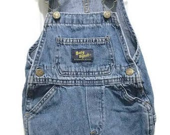 Vintage Baby B'gosh Overall Wash Blue Jean  with Adjustable Straps By Oshkosh Size 18 Months Unisex Overall