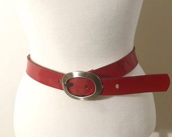 Women Red Belt  with Oval Metal Buckle Vintage Buffalo David Bitton Size Small