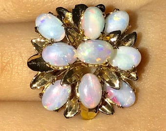 14K Gold Ring with 9 Genuine  Opal Stones 1.80 Carats Multi Tiered Multistone Ring  Size 7 Estate Ring