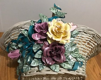 Vintage Spring Straw Basket with Stiff Roses in Yellow, Pink and Purple  Easter Decoration
