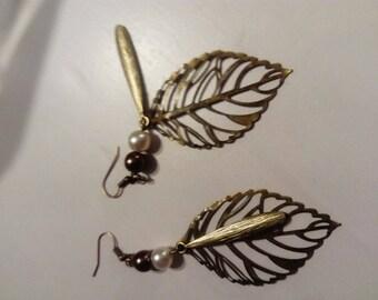 Dangle earrings bronze Pearl