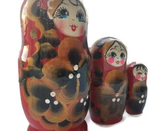 Matryoshka wooden hand painted. Russian toy for kids.