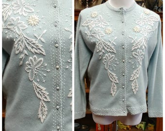 Clearance *** Gorgeous Baby Blue Vintage Beaded Cardigan made in Hong Kong
