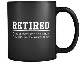 Retirement Black Mug, Retirement Gift, Retirement Party Gift, Retired Mug, Retired Gift, Gift for Retiree, Mug for Retiree, Last day #a137