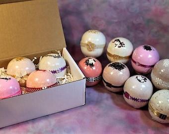 4 Bath Bombs, 8oz Bath Bombs Gift Set, Large Bath Bombs, Gift Set for Women, Huge Bath Bomb, Assorted Bath Bombs, X-L Bath Bombs