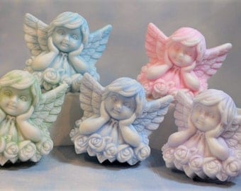 Angel Soap Favors(5), 10 Cherub Soap Favors, Baby Shower Favors, Gender Reveal Favors, Baptism, Christening Favors, First Communion Favors