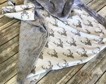 Minky Baby Blanket- Deer baby Blanket- Arrow Blanket- Woodland Nursery- Deer Crib Bedding- Baby boy blanket- Baby Girl Blanket- Baby Blanket