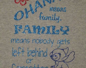 Kids and Adult Ohana Glitter slShirt