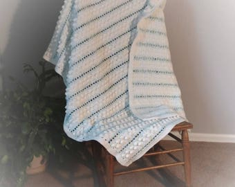 Popcorn Stitch Crib Blanket Baby Afghan